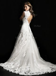 Wedding Dresses - $236.80 - A-Line/Princess V-neck Court Train Tulle Lace Wedding Dress (00205003247)