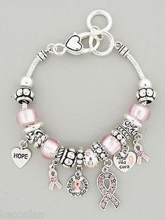 Brighton Bay Jewelry Pink Ribbon Breast Cancer Awareness Charms Beads Bracelet