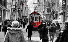 İstiklal Caddesi by H.Yaşar Gündüz - Photo 127584015 / 500px.   #500px #blackandwhite #schwarzweiss #noiretblanc #siyahbeyaz #monochrome #red #kırmızı #city #street #travel #taksim #turkey #istiklal #architecture #people #tramvay #tram #streetphotography #fatih #turkcell #starbucks #augsburg #ulm #münchen #stuttgart #frankfurt #istanbul #ankara #izmir