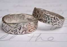 shakespeare quote wedding band ring set . to unpathed waters undreamed shores . recycled silver band set . tree bark rings. $238.00, via Etsy.
