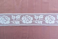 Antique filet lace with rose pattern white by mathildasattic