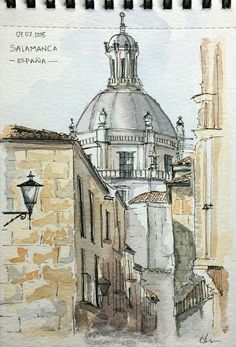 Doodlewash and watercolor sketch of Buildings in Salamanca Spain by César Rodríguez Building Painting, Building Art, Pen And Watercolor, Watercolor Artwork, Watercolor Architecture, Building Sketch, Art Sketchbook, Fashion Sketchbook, Urban Sketchers