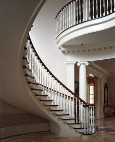 A Georgian home designed by Norman Davenport Askins, Architect. Staircase Railings, Grand Staircase, Stairways, Spiral Staircases, Staircase Ideas, Georgian Architecture, Architecture Details, Interior Architecture, Beautiful Interiors