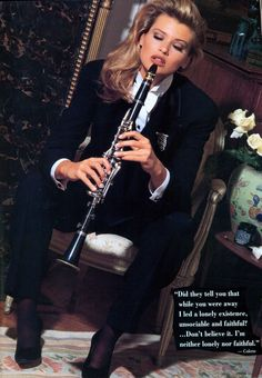 "Daniela Pestova playing the clarinet in style. Ellen Tracy, 1992.Quote by Colette ""Did they tell you that while you were away I led a lonely existence, unsociable and faithful?…Don't believe it. I'm neither lonely..."