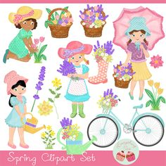 Spring is in the air! Adore your art projects with these cute little spring girls and gorgeous flowers, also perfect for making your cards, paper crafts, scrapbooking, invitations, web design, printables and much more!