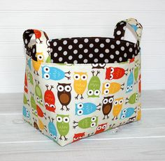 Organizer, Storage Bin, Basket, Nursery Decor, Home Decor, Container, Diaper Storage - Wise Owls - Ready to Ship