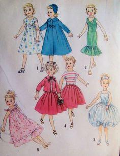 "VTG Simplicity 2745 Miss Revlon Cissy Toni Dollikin Doll Clothes Pattern 23"""