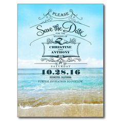 Elegant seascape beach save the date postcards with retro typography and seashell, starfish calligraphy design. Perfect beach wedding save the date for destination wedding, beach wedding or coast wedding. Browse my store to see full wedding set from invitation and matching items.