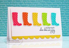 When Skies Are Gray Card by Wanda Guess #Cardmaking, #JustBecause, #Encouragement, #Stampofthemonth