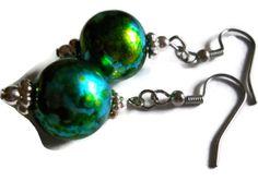 Green Watercolor Earrings Handpainted Earrings by chicagolandia, $18.00