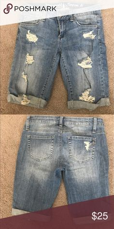 Destructed Bermuda Shorts These destructed shorts are super trendy and comfortable. They were originally purchased from a boutique and only worn once for a couple of hours. Special A Shorts Bermudas