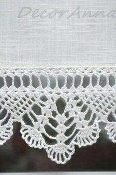 Diy Crafts - Crochet ecru curtain curtain with crochet lace by DecorAnna Crochet Edging Patterns, Crochet Lace Edging, Crochet Borders, Filet Crochet, Crochet Trim, Crochet Doilies, Crochet Stitches, Knit Crochet, Crochet Curtains
