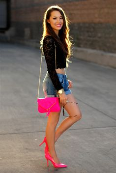 6. denim shorts with lace top
