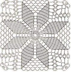 Home Decor Crochet Patterns Part 172 - Beautiful Crochet Patterns and Knitting Patterns Filet Crochet, Crochet Doily Diagram, Crochet Doily Patterns, Granny Square Crochet Pattern, Crochet Squares, Crochet Chart, Thread Crochet, Knitting Patterns, Free Knitting