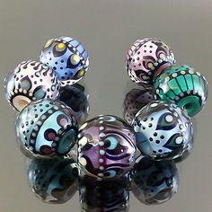lampwork 7 glass beads dot line