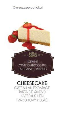 CHEESECAKE GÂTEAU AU FROMAGE TARTA DE QUESO KAESEKUCHEN TVAROHOVÝ KOLÁČ ICEWINE ORVIETO ABBOCCATO LATE-HARVEST RIESLING Wine Recipes, Harvest, Cheesecake, Breakfast, Desserts, Food, Pies, Cheesecake Cake, Food And Wine