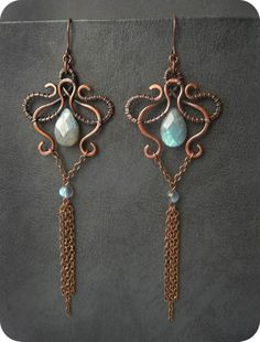 Briolette dangle wire earrings