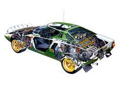 Sketchbook historic cars Pictures: Lancia STRATOS - La belva ai raggi x Cutaway, Sport Cars, Race Cars, Carros Suv, F1 Posters, Alfa Romeo, Car Drawings, Automotive Art, Rally Car