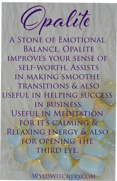 A Stone of Emotional Balance, improves your sense of self-worth, assists in making smooth transitions & is also useful in helping success in business. useful in for its & & also for opening the Crystals Minerals, Crystals And Gemstones, Stones And Crystals, Wicca Crystals, Crystal Healing Stones, Crystal Magic, Healing Crystal Jewelry, Crystal Meanings, Crystal Collection