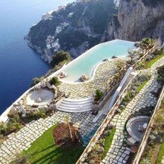 The 17th-century Monastero Santa Rosa Hotel & Spa, once a monastery, sits on the edge of the Amalfi Coast, Italy.