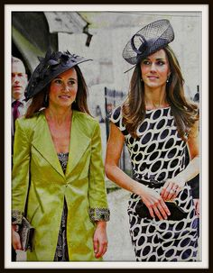 June 2011:  Pippa Middleton and the Duchess of Cambridge at the wedding of amateur jockey Sam Waley Cohen and Annabel Ballin. Pippa covers her enviable figure in a £399 chartreuse satin coat and dull print dress, teamed with £420 Prada shoes and over-large £645 Sylvia Fletcher hat. TOTAL: £1,464