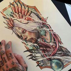 Sketch Tattoo Design, Tattoo Sketches, Tattoo Drawings, Neo Traditional Art, Traditional Tattoos, American Traditional, Art Minimaliste, Tatoo Art, Tattoo Ink