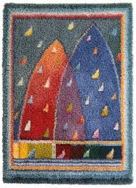 Sirkka Könönen 'Satupurjeet' (Fairytale Sails), Finnish woven ryijy cloth rug made of wool and linen. Size 110 cm x 150 cm. Weave one yourself or purchase one ready made from www. Rug Hooking Designs, Rya Rug, Rug Inspiration, Art Textile, Woven Rug, Fiber Art, Rugs On Carpet, Designer, Quilts