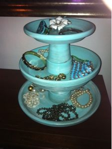 DIY jewelry stand made from clay pots