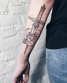 sword with rose tattoo - 50 Sword Tattoo Ideas  <3 <3