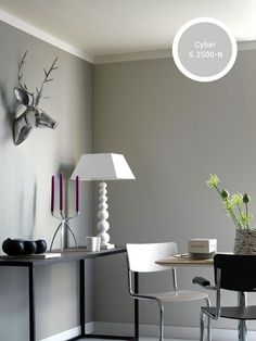 Wall color Interior Paint Colors, Gray Interior, Wall Colors, House Colors, Color Inspiration, Interior Inspiration, Grey Walls, Interiores Design, Sweet Home