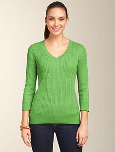 Talbots - Baby Cable V-Neck Sweater | Sweaters | Misses