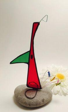 Red Scrappier Bird Stained Glass Bird