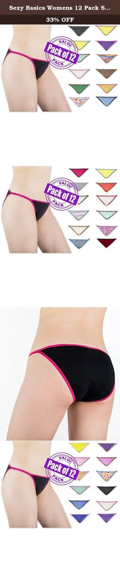 """Sexy Basics Womens 12 Pack String Bikini Briefs solids/prints large multi colors. Sexy Basics Fashion String Bikini Briefs - This 12 pack Fashion Bikini Brief by Sexy Basics includes 12 pairs of String Bikinis in 100% Combed Cotton Fabric . With 12 Briefs in assorted colors and prints this is an essential stock up value basic. From 1 of our customers on this product : """" Second time buying these. I love this style of underwear. The ones you get are always super random so It's fun being…"""