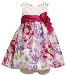 Bonnie Baby Girls Infant Triple Strap Shantung Dress With Large Floral Print Skirt