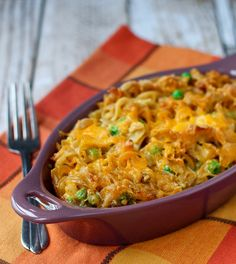 Tuna Noodle Casserole Recipe - with an unexpected crunch. This is my husband's favorite casserole!