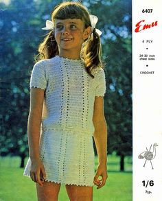 Vintage Girls Jumper and Skirt Crochet Pattern by LittleJohn2003