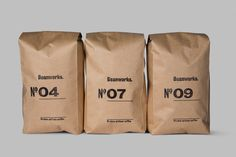 Brand Identity and packaging for Beanworks designed by Paul Belford