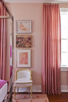 This is a monochromatic room, and has all shades of red/pink in it. I like it because there are the dark curtains and wood, mixed with the light pink walls and light chair. Pink Curtains, Colorful Curtains, Ceiling Curtains, Murs Roses, Monochromatic Room, Monochrome, Interior And Exterior, Interior Design, Pink Room