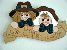 Pilgrim Banner We Gather Together Thanksgiving by loisling on Etsy