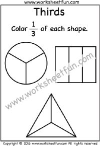 fractions  thirds  coloring   one worksheet  fraction  fractions  thirds  coloring   one worksheet  fraction worksheets   pinterest  math fractions and worksheets