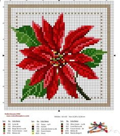 How To Knit: Beautiful flower for embroidered gifts Free Cross Stitch Charts, Counted Cross Stitch Patterns, Cross Stitch Designs, Cross Stitch Embroidery, Embroidery Patterns, Xmas Cross Stitch, Cross Stitch Cards, Cross Stitch Flowers, Cross Stitching