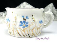 Antique Mustache Cup Forget me Not's Blue by Vintage55Motifs