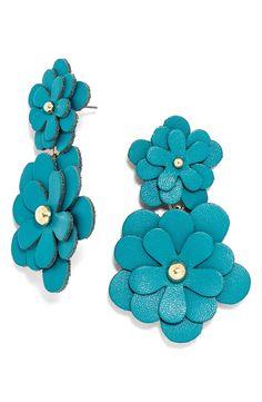 BaubleBar 'Zoe' Leather Flower Drop Earrings