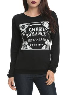 Black pullover top from My Chemical Romance with a spirit board design.
