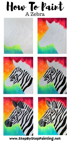 Canvas Painting Tutorials, Easy Canvas Painting, Acrylic Canvas, Painting Tips, Zebra Painting, Painting & Drawing, Kids Canvas Art, Canvas Crafts, Step By Step Painting