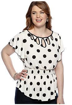 New Directions® Plus Size Polka Dot Keyhole Top - Belk.com