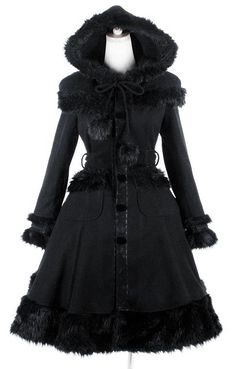 Our Gothic Lolita Coat with big Hood. Coat is finished with FAKE FUR!!!!!