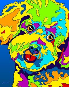 Multi-Color Bichon Frise Dog Breed Matted Prints & Canvas Giclées