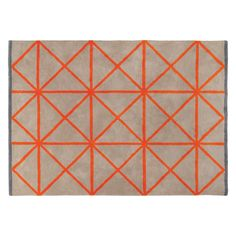Bright and bold, Grid large geometric patterned rug has a soft wool pile and features taupe with contrasting orange grid lines and a bold grey border. Buy now at Habitat UK. Living Room Carpet, Rugs In Living Room, Bedroom Orange, Farmhouse Rugs, Orange Rugs, Rug Shapes, Grey Rugs, Small Rugs, Modern Rugs