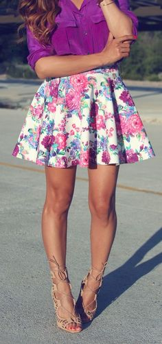 Floral A-line skirt & purple blouse & strappy nude heels